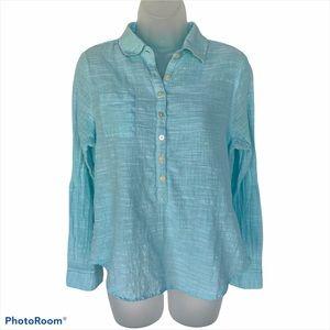 Aventura Organic Cotton Button-Down Turquoise M